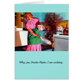 Retro Wife - Cooking Triggers Smoke Alarm, Card
