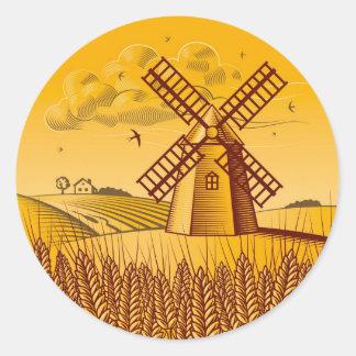 Retro Windmill Classic Round Sticker