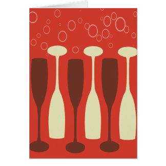 Retro wine glass design card