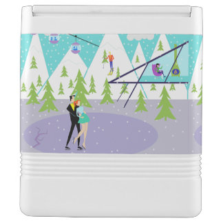 Retro Winter Ski Resort Igloo Can Cooler