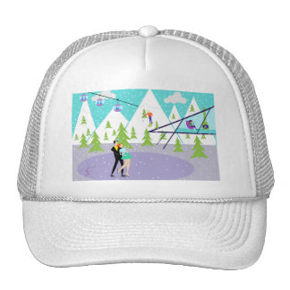 Retro Winter Ski Resort Trucker Hat