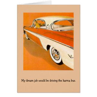 Retro Woman - Driving the Karma Bus, Card