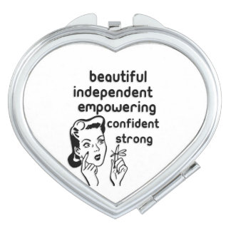 Retro woman finger bow empowering mirror for makeup