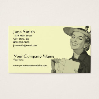 Retro Woman Holding Mail Business Card