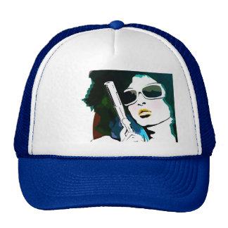 retro woman pistol trucker hat