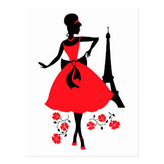Retro woman red and black silhouette postcard