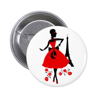 Retro woman red black silhouette with Eiffel Tower 2 Inch Round Button