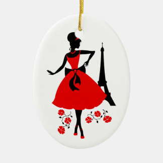 Retro woman red black silhouette with Eiffel Tower Ceramic Oval Ornament