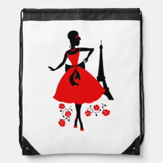 Retro woman red black silhouette with Eiffel Tower Cinch Bags