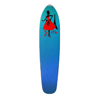 Retro woman red black silhouette with Eiffel Tower Custom Skate Board