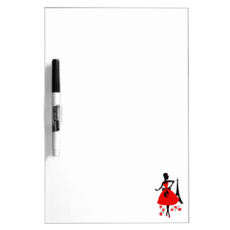 Retro woman red black silhouette with Eiffel Tower Dry-Erase Whiteboard