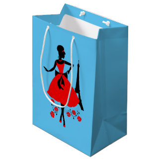 Retro woman red black silhouette with Eiffel Tower Medium Gift Bag