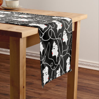 Retro woman red black silhouette with elegant bead short table runner