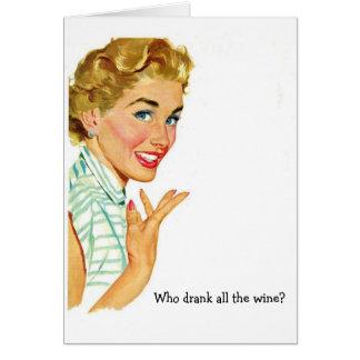 Retro Woman - Who Drank all the Wine?, Card