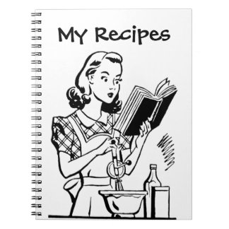 Retro Woman With Cookbook Notebook