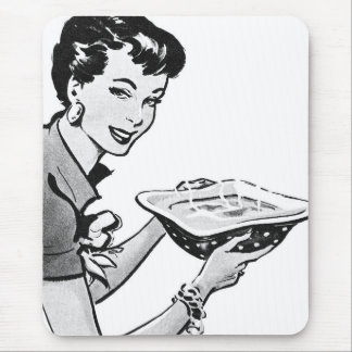 Retro Woman With Home Cooked Meal Mouse Pad