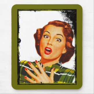 Retro Woman With Surprised Expression Mouse Pad