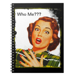 Retro Woman With Surprised Expression Spiral Note Book