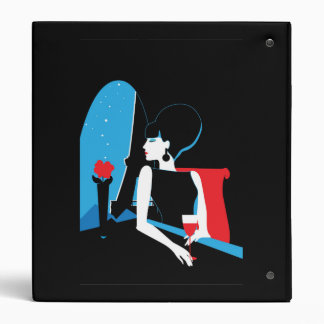 Retro woman with wine silhouette with Eiffel Tower Binder