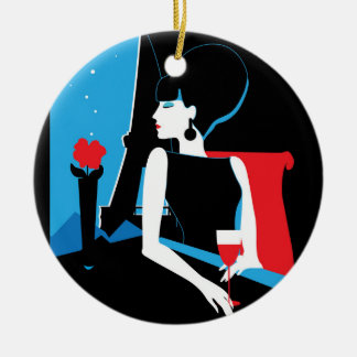 Retro woman with wine silhouette with Eiffel Tower Ceramic Ornament
