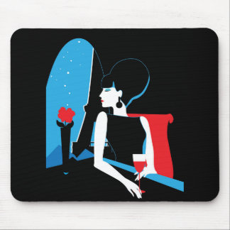 Retro woman with wine silhouette with Eiffel Tower Mouse Pad