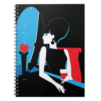 Retro woman with wine silhouette with Eiffel Tower Notebook