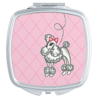 Retro Women's French Poodle Compact Gift Mirrors For Makeup
