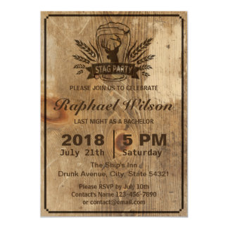 """Retro Wood Beer & Stag Bachelor Party Card 5"""" X 7"""" Invitation Card"""
