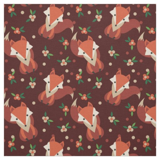 Retro Woodland Foxes And Flowers Pattern Fabric