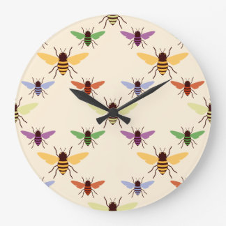 Retro woodland rainbow bees bumblebees pattern large clock