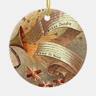 retro yankee doodle xmas decor ceramic ornament