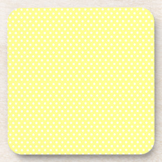 Retro yellow and white polka dot drink coaster