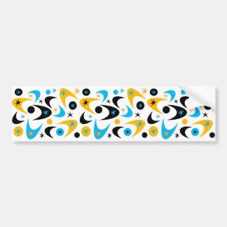 Retro Yellow Black & Aqua Starburst Boomerang Bumper Sticker