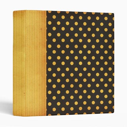 Retro Yellow/Black Polka Dot Vinyl Binders