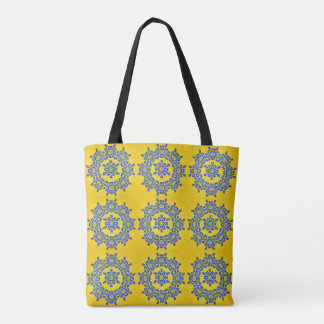 Retro Yellow & Blue Flower Ceramic Tile Tote Bag