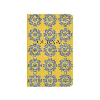 Retro Yellow & Blue Flower Tile Pocket Journal