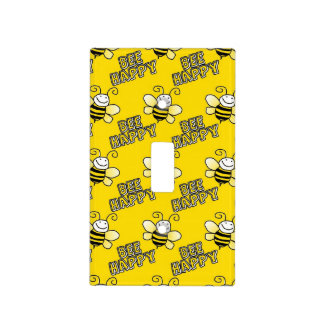 Retro Yellow Bumble Bee Pattern Light Switch Cover