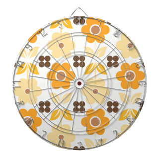 Retro Yellow Flowers Dartboard