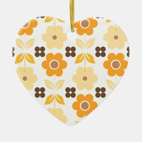 Retro Yellow Flowers Dble-sided Heart Ornanent Ceramic Ornament