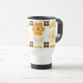 Retro Yellow Flowers Travel/Commuter Mug
