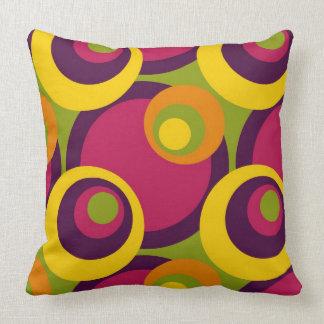 Retro Yellow Orange Lime Purple Fifties Pattern Throw Pillow
