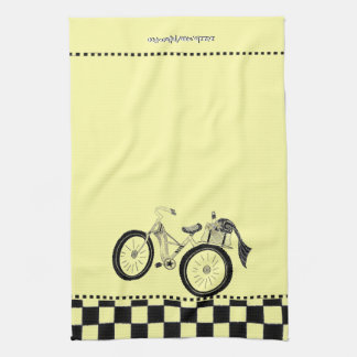 Retro Yellow Picnic Bicycle Kitchen Towel