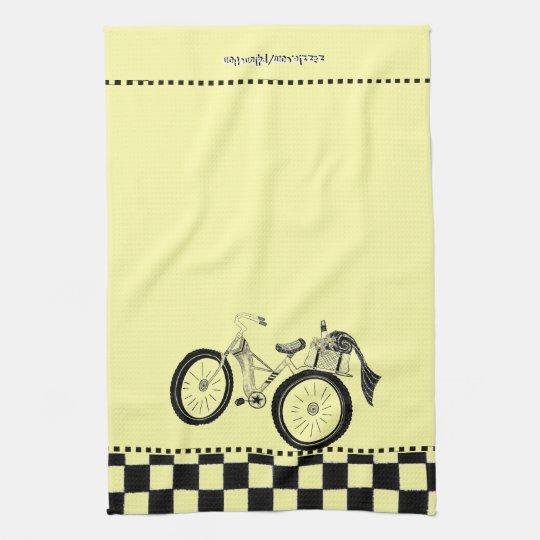 Retro Yellow Picnic Bicycle Kitchen Towel