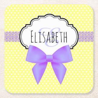 Retro yellow polka dot purple bow girl name square paper coaster