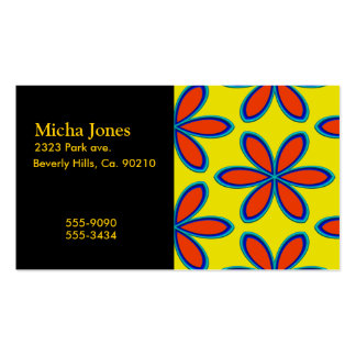 Retro Yellow Red Psychedelic Flowers Business Card Templates