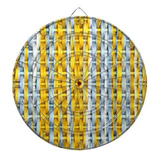 Retro yellow stripes wicker art graphic design dartboard with darts