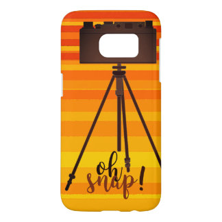 Retro Yellow Summer Stripes Camera Old Fashion Samsung Galaxy S7 Case