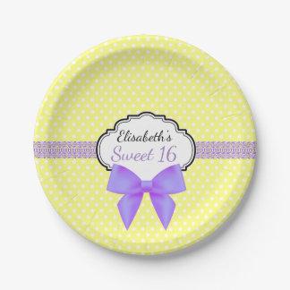 Retro yellow white polkadot sweet 16 girl birthday 7 inch paper plate