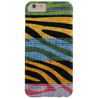 Retro Zebra Skin Print Pattern Burlap Rustic #11 Barely There iPhone 6 Plus Case