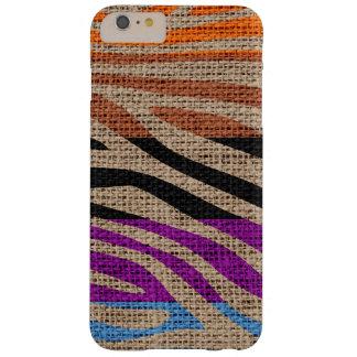 Retro Zebra Skin Print Pattern Burlap Rustic Barely There iPhone 6 Plus Case